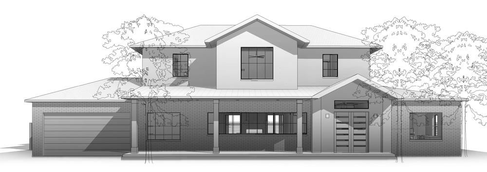Design rendering: existing single story residence expanded to provide a second  floor with a total of approximately 3800 SF, comprised of 4 bedrooms, 4-1/2 baths, with an open concept kitchen/dining/living and expansive covered porches. General Contractor:  Joel Pittman, The Joel P Pittman Co Inc