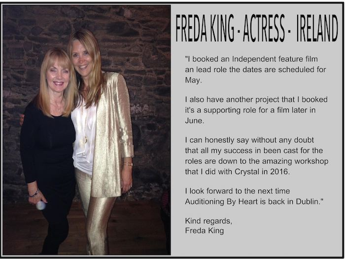 Freda King raves about Crystal Carson and Auditioning by Heart!