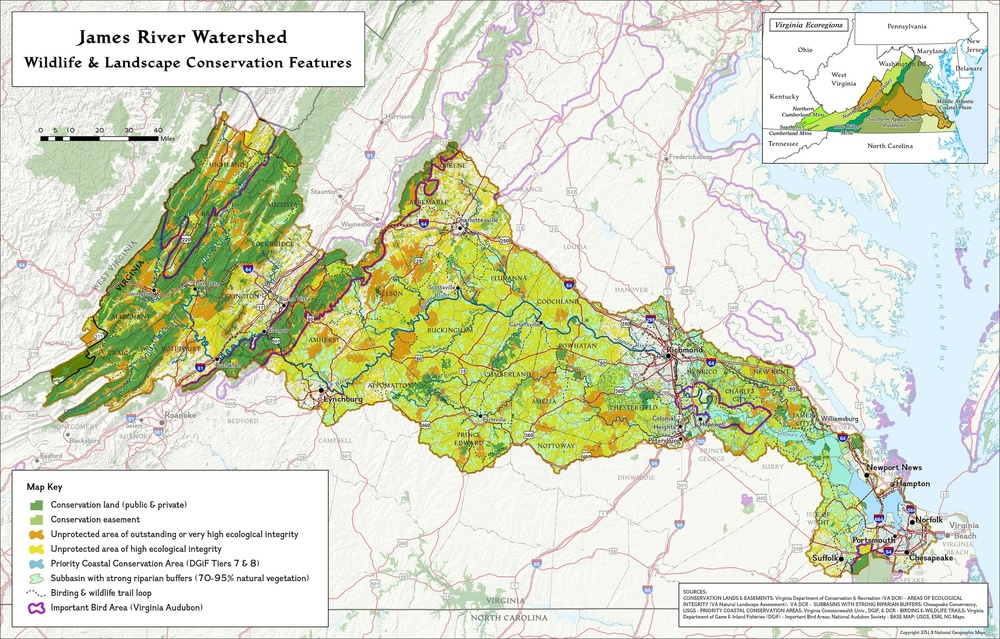 James River Watershed Wildlife & Conservation Map