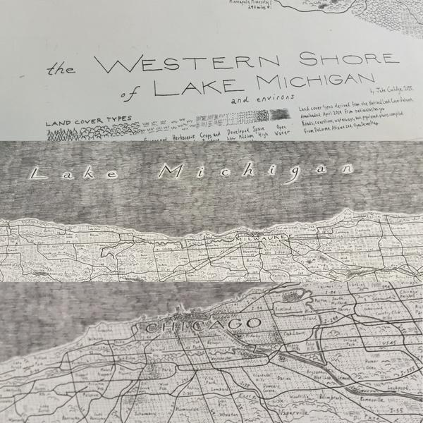 Jake Coolidge's Hand-Drawn Map of The Western Shore of Lake Michigan and Environs