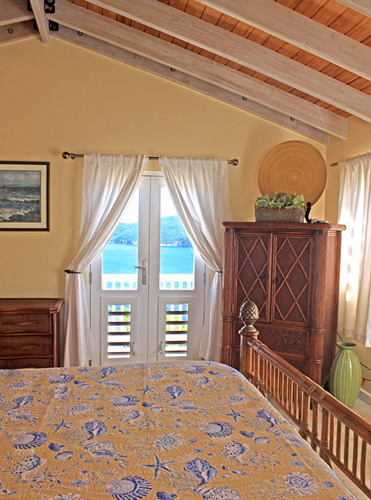 Upstairs Bedroom with Views of Caribbean Sea to the North