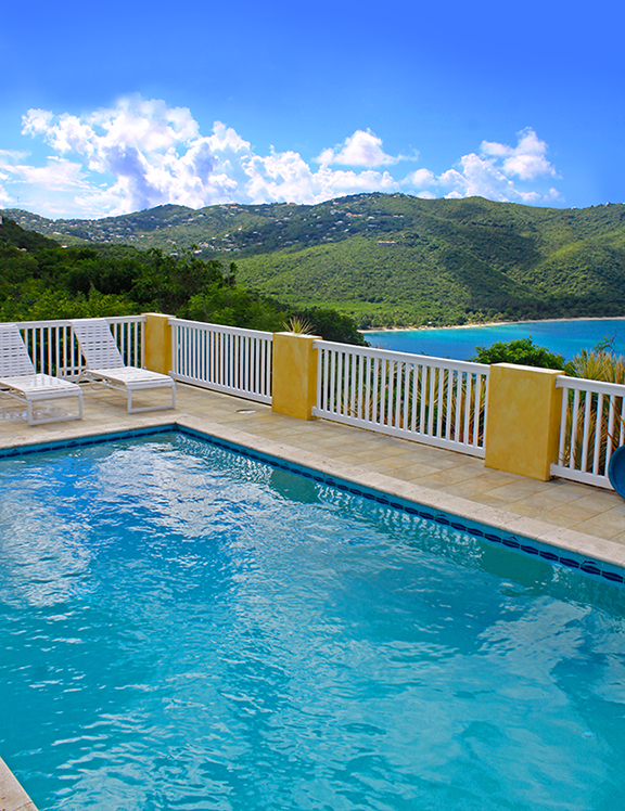 Large Pool Deck with Magen's Bay View