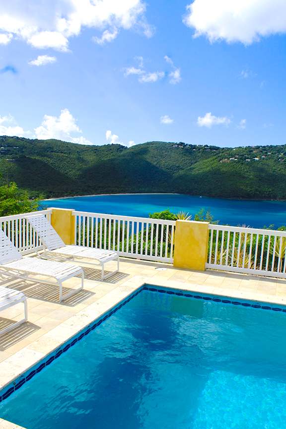 Pool Deck with Lounge Chairs and Incredible views of Magen's Bay