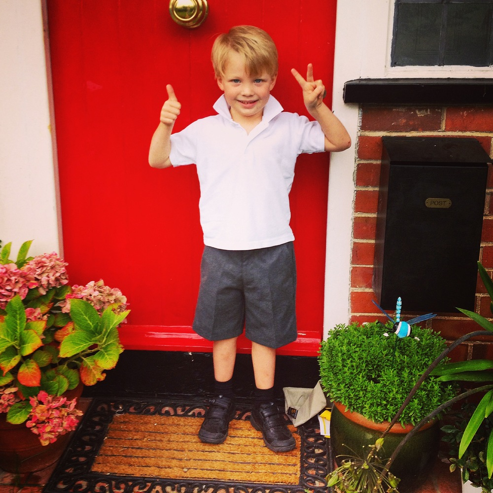 Jasper on the front door step. First day of school take two!