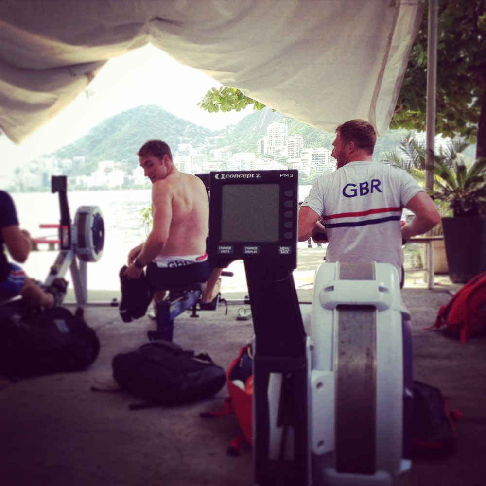 George Nash and Will Satch preparing for a session on the ergo while looking out over the Lagoa.