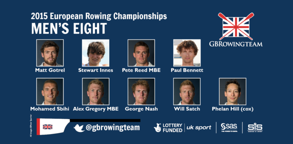 The Men's Eight for the 2015 European Championships.
