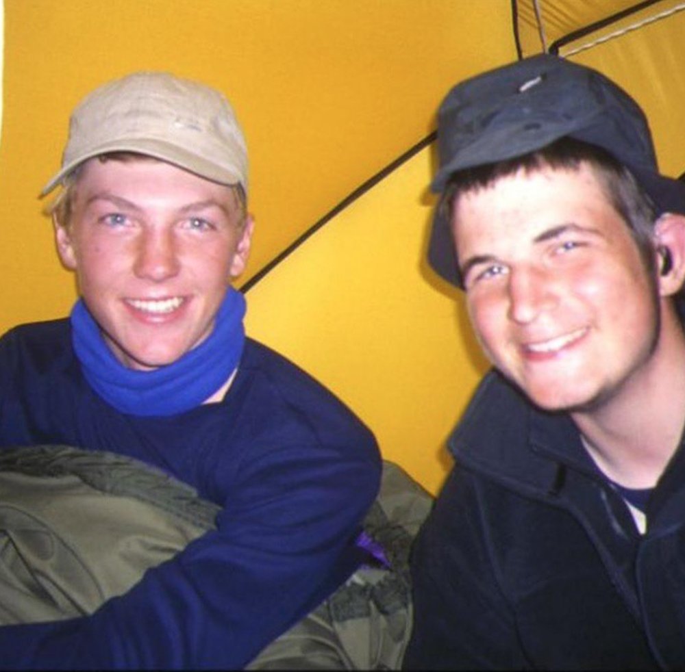 Me and one of my tent mates Ant, 17 years old having the time of our lives. 4 weeks in those clothes...