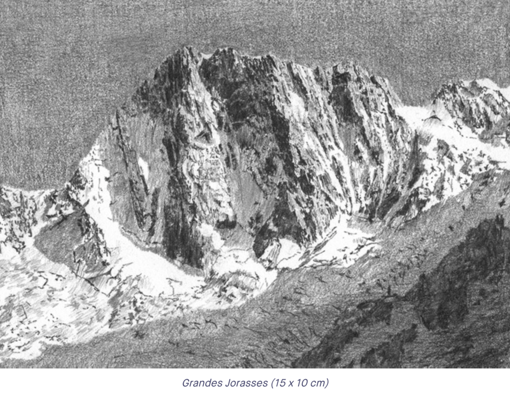 A pencil drawing of the Grandes Jorasses, one of many interspersed within the book Alpenglow.