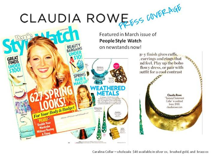 The Claudia Rowe necklace is in the March issue of People Style Watch! Check it out at the store in gold or silver.
