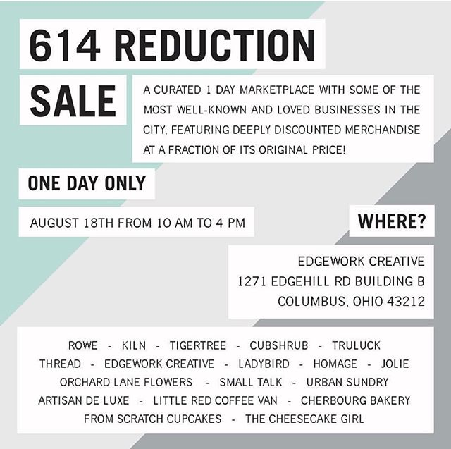 The 614 Reduction Sale is a curated, 1-day warehouse sale with some of the most well-known and loved businesses the 614 has to offer. The sale will feature DEEPLY DISCOUNTED merchandise at a fraction of its original price. Don't miss out! Saturday, 8/18 from 10 AM - 4 PM at Edgework Creative. Gain early access and shop before the crowds at 9 AM by donating $10 (cash only) at the door to support Flying Horse Farms!!