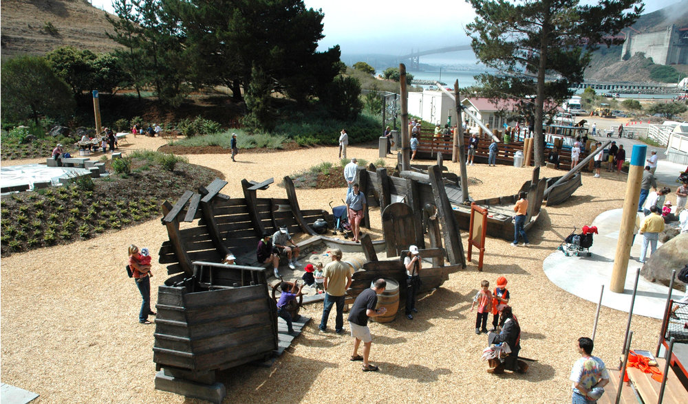Sunken pirate ship playground under the golden gate bridge at the bay area discovery museum.jpg