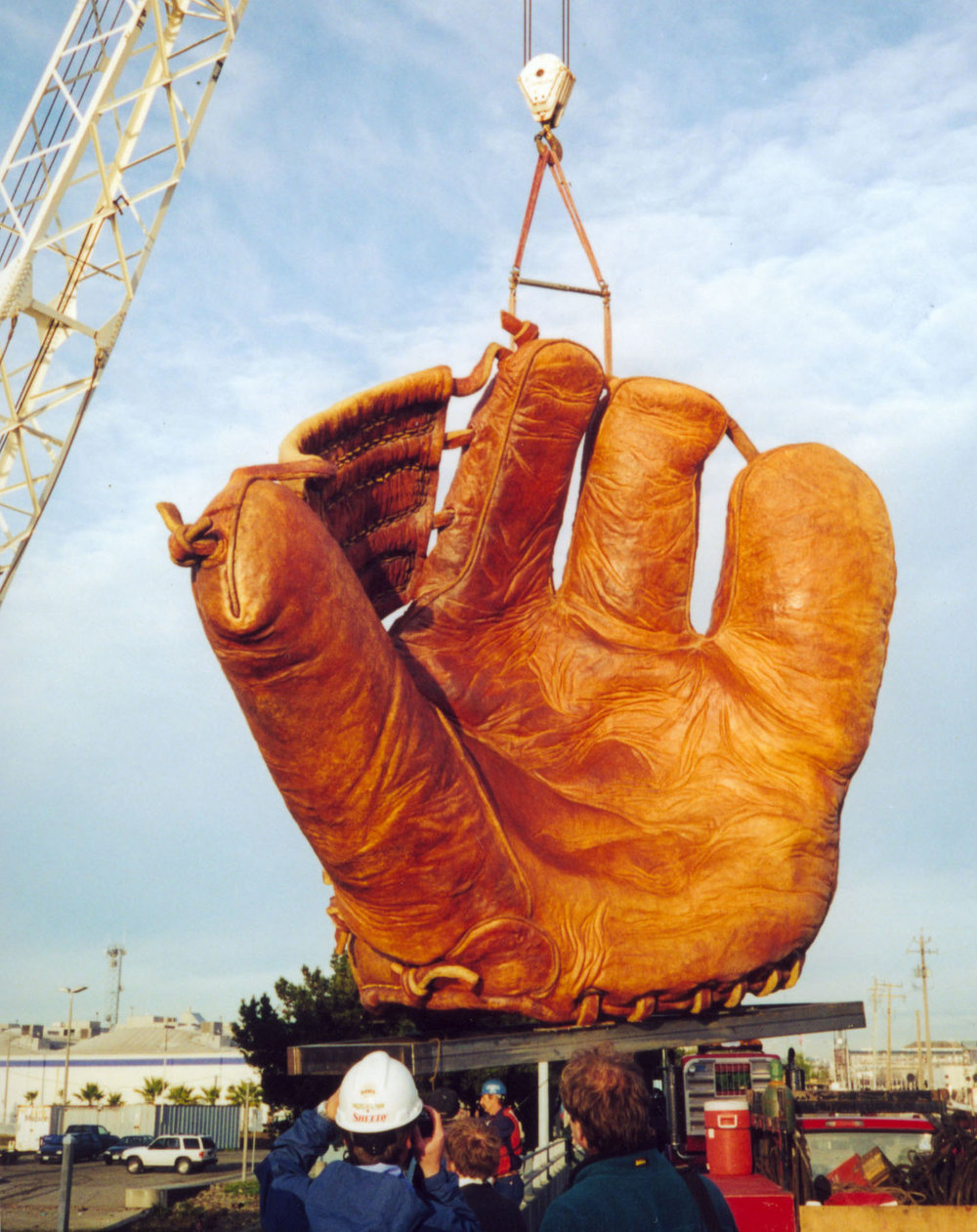 Giant baseball mitt installation at AT&T Park in San Francisco