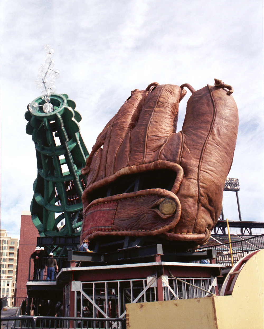 Installation at AT&T Park of the Giant Baseball Mitt