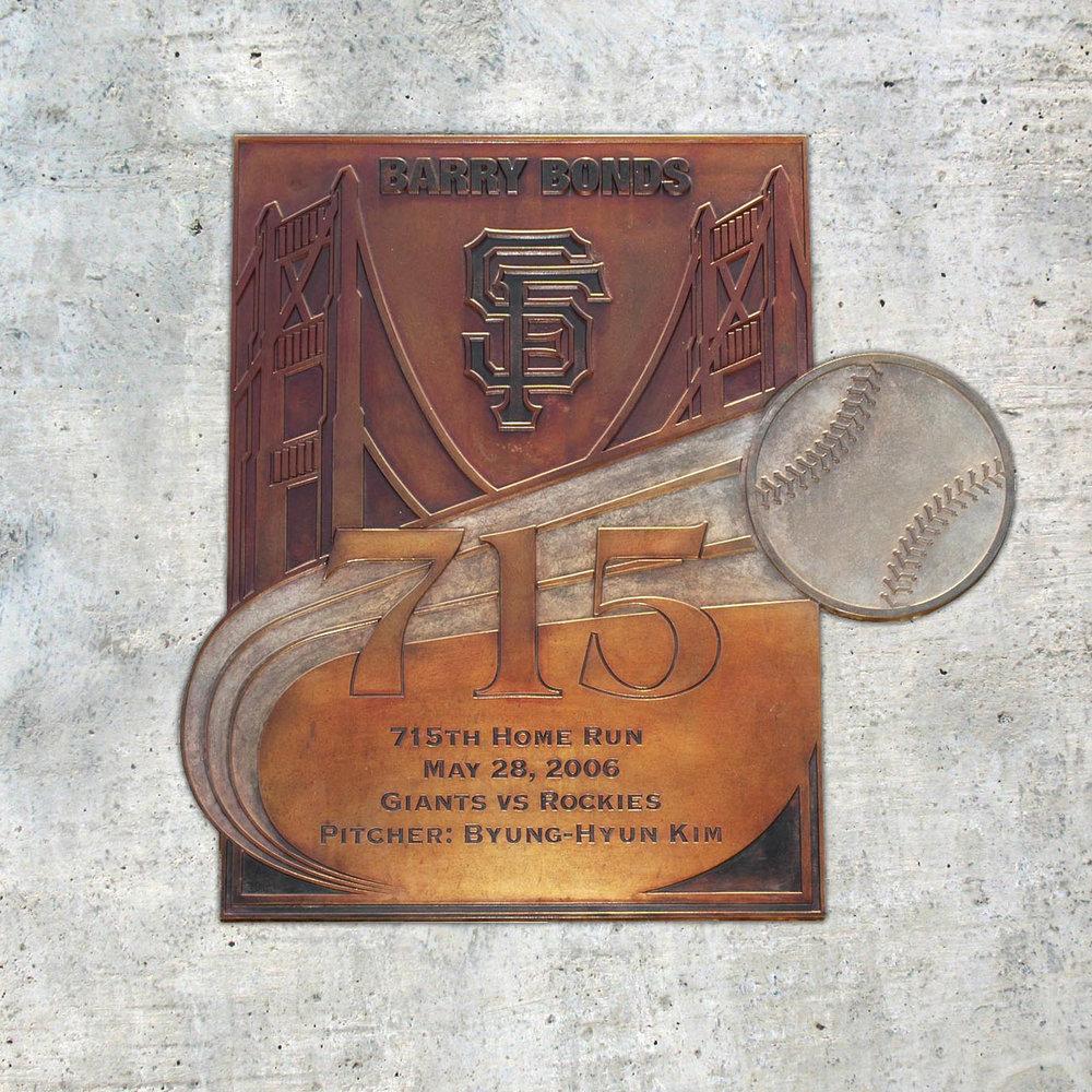 San Francisco Giants : Port Walk Bronze Plaques, Barry Bonds 715th Home Run  San Francisco, CA