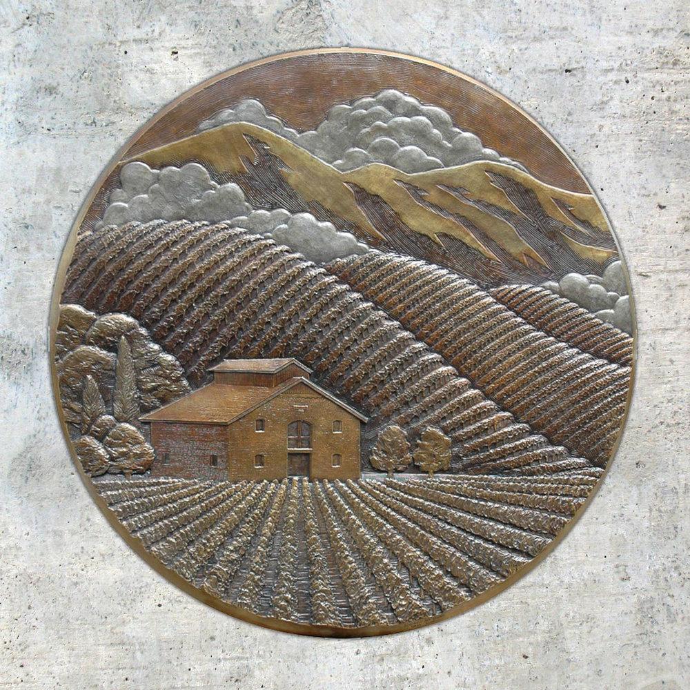 Pride Mountain Vineyards : 3' bas-relief bronze logo plaque  St. Helena, CA