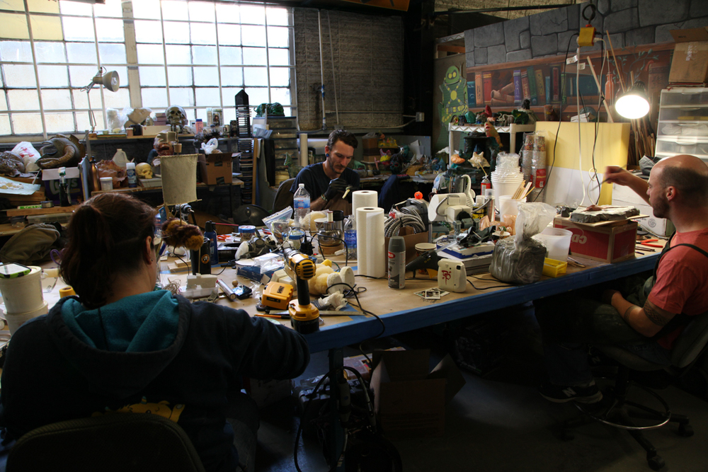The puppet fabrication team, hard at work.