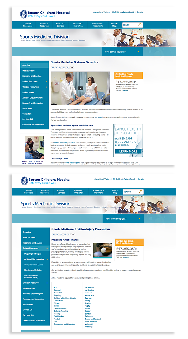 Boston Children's Hospital Sports Medicine Website