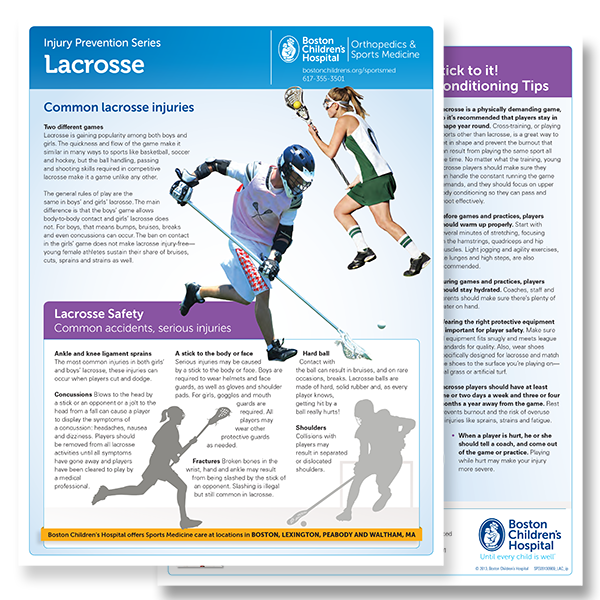 Downloadable datasheet regarding the prevention of lacrosse injuries