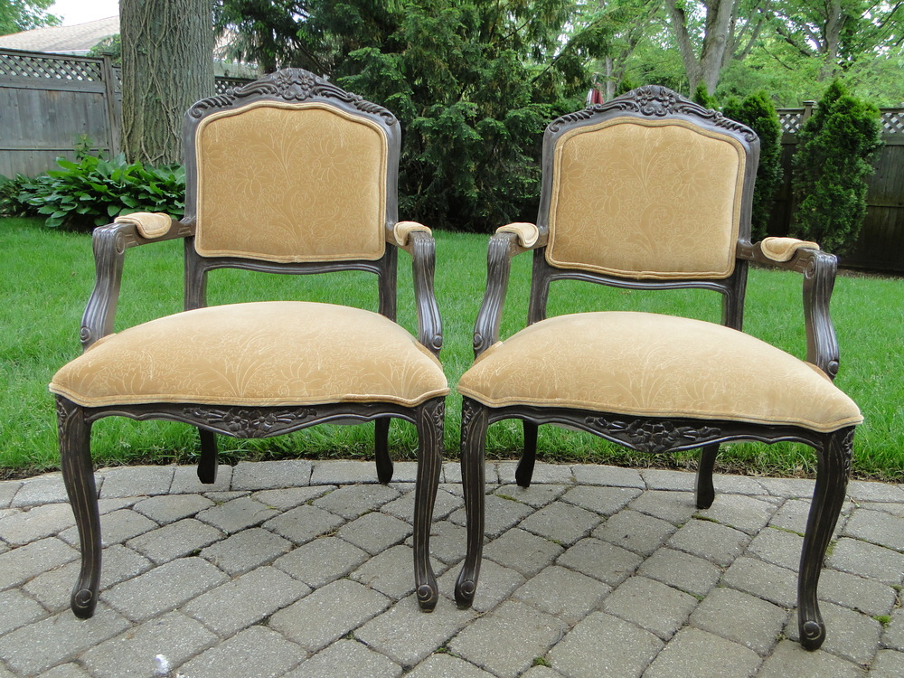 Pair of chairs complete with new fabric and finish