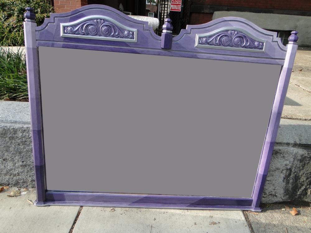 Hand painted purple mirror