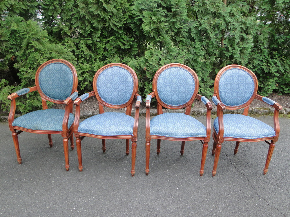 Foursome of French Style Arm Chairs