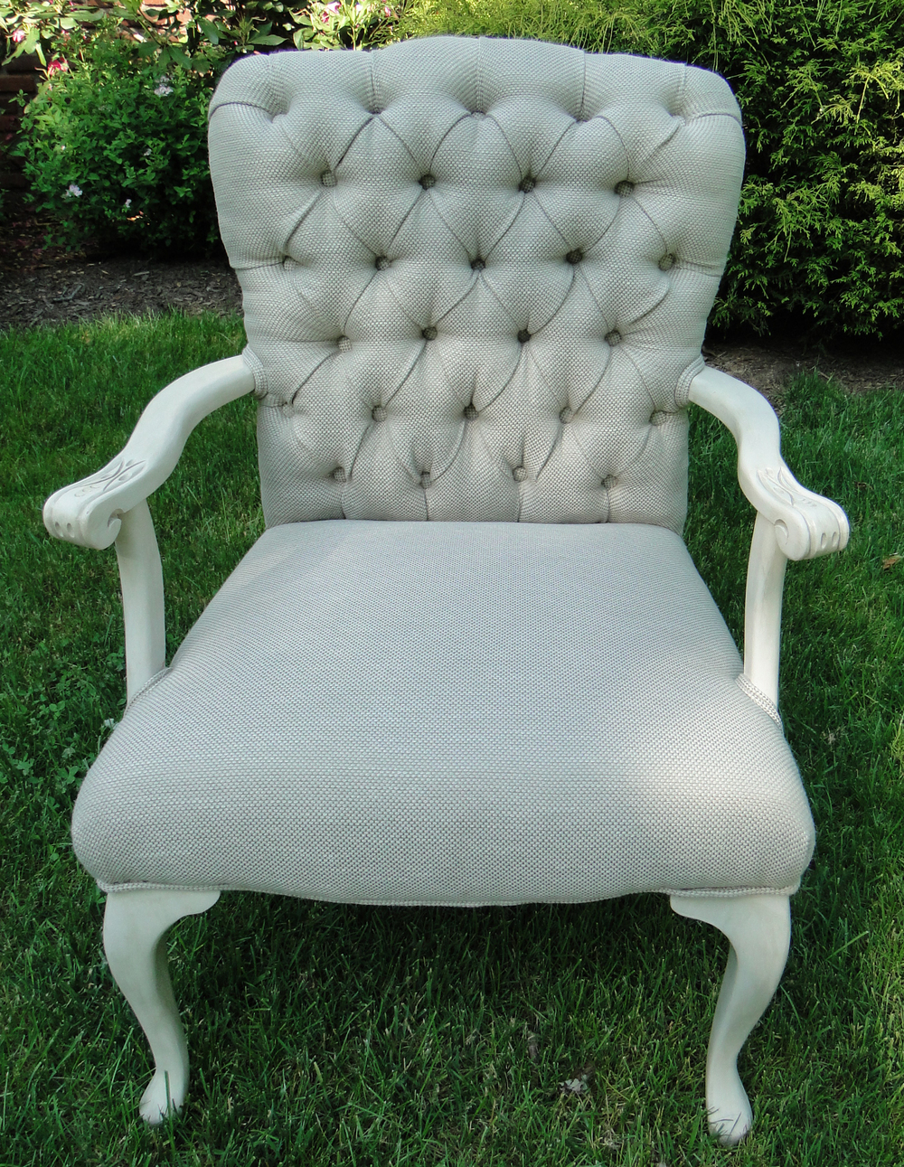 """""""After"""" view of re-imagined chair, with tufted back"""