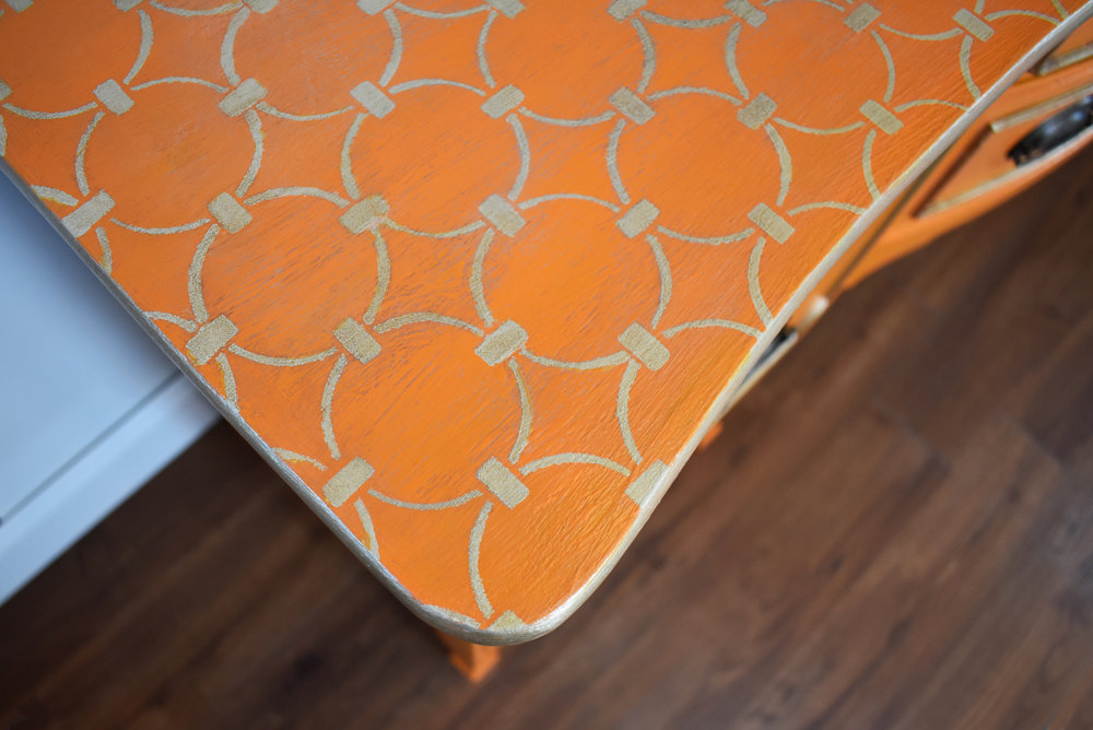 Close up of custom stenciled design