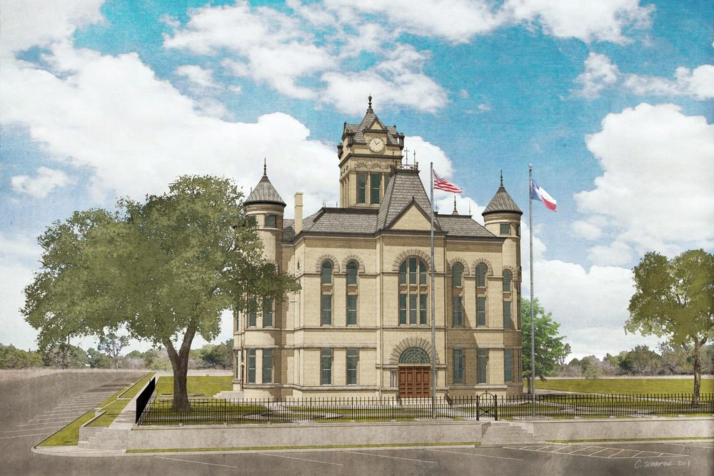Rendering of restored courthouse