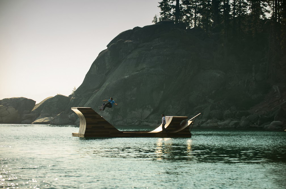 Floating Skateboard Ramp Lake Tahoe Dream Big-California Bob Burnquist