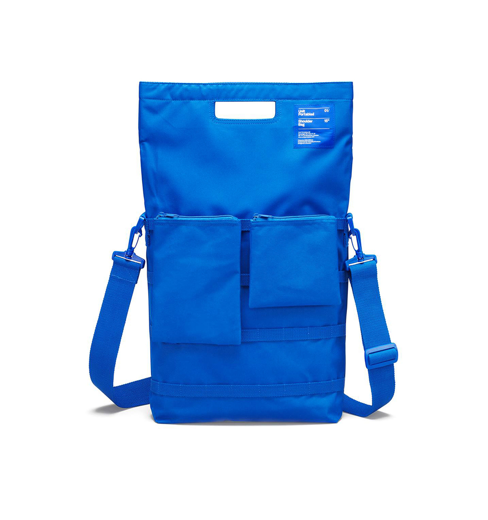 Unit Portables bags unit 01 yellow white and blue backpack