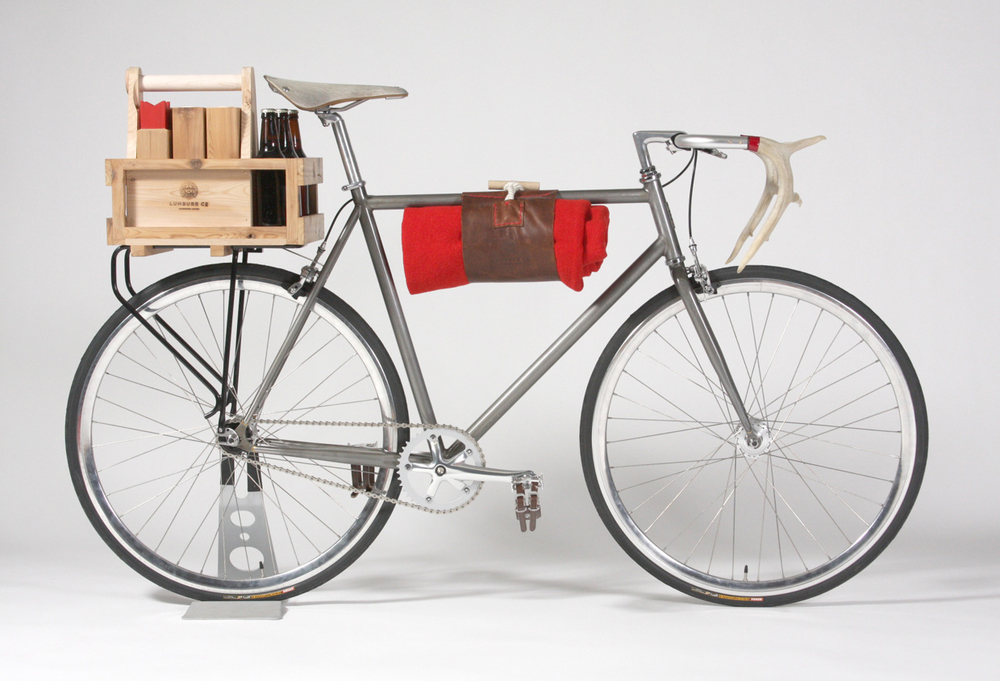 Lumburr Co Bicycle with six-pack holder, crate and antler handlebars