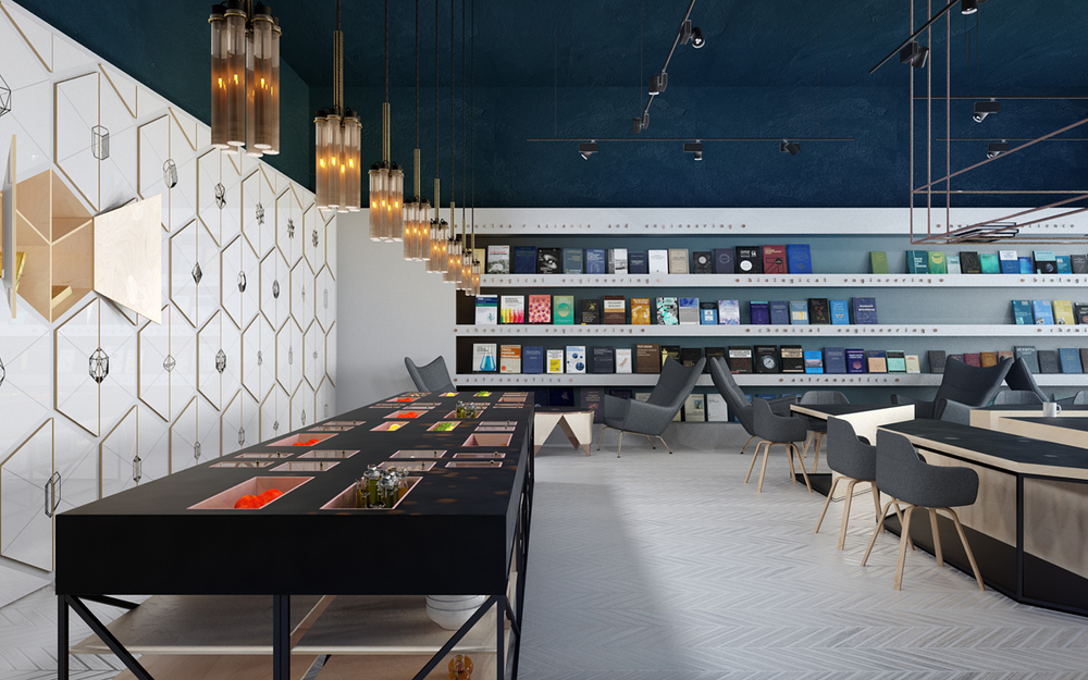 It 39 s hip to be square science cafe library by anna for 4 space interior design
