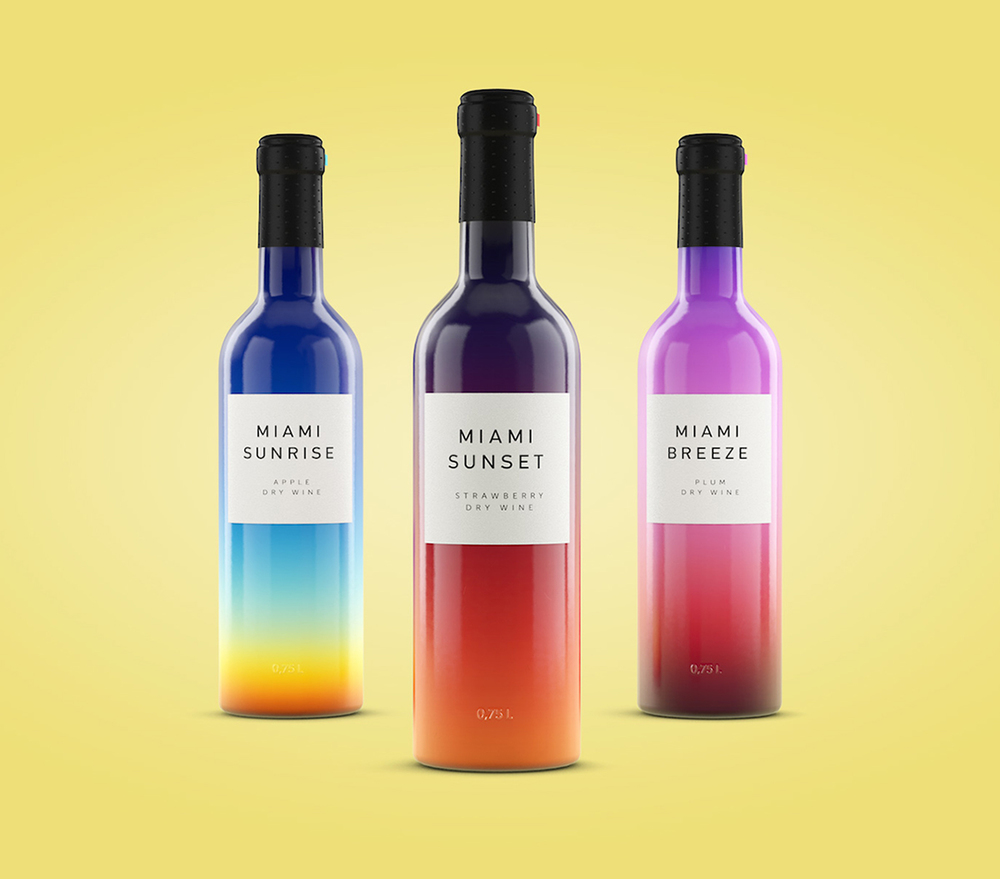 Colorful packaging design for Miami Wines by Designer Vlad Likh
