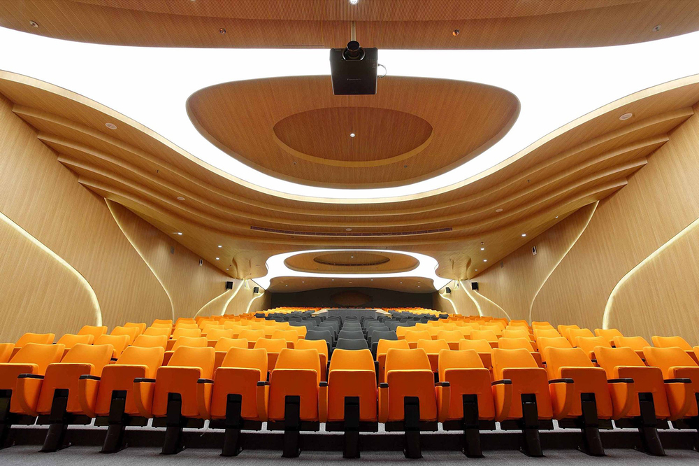 Auditorium at VSB designed by Planet 3 Studios. Photography by Mrigank Sharma