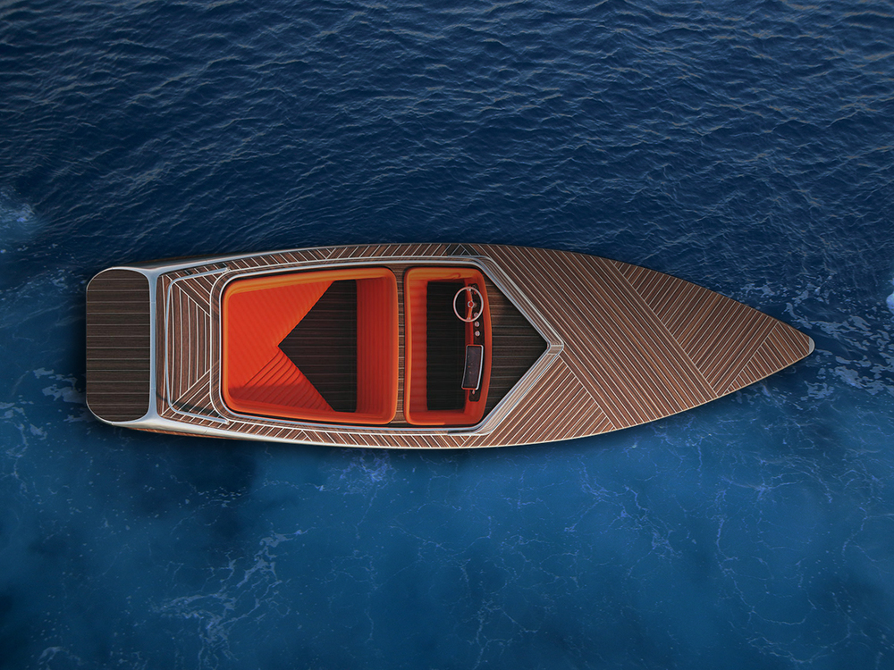 Zebra electric boat with a classic look designed by Dimitri Bez