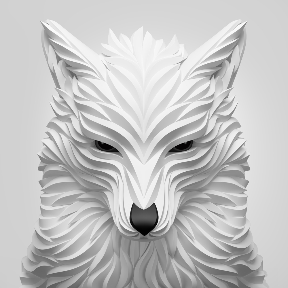Wolf & Hoot 3D sculpture series by Maxim Shkret