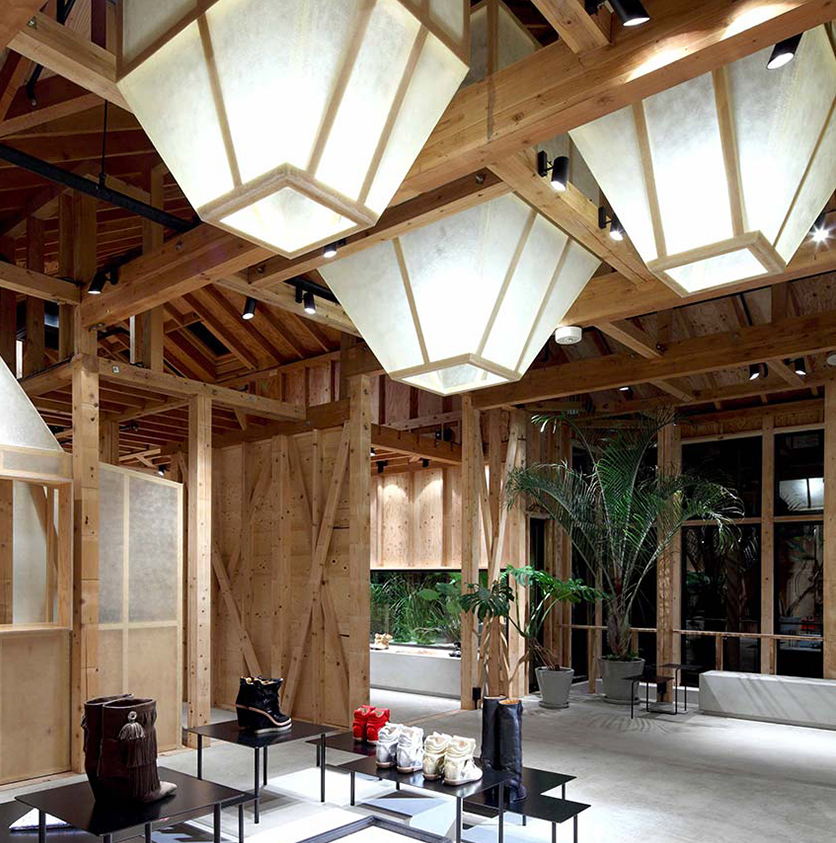 Tokyo store || Design: Cigue || Materials: concrete, pine wood, plywood, steel, and leather