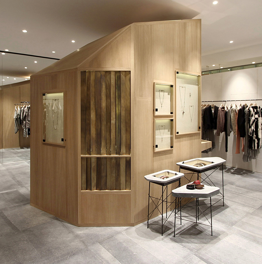 Shanghai store || Design: Cigue || Materials: Hainut blue stone, oak, brass and steel