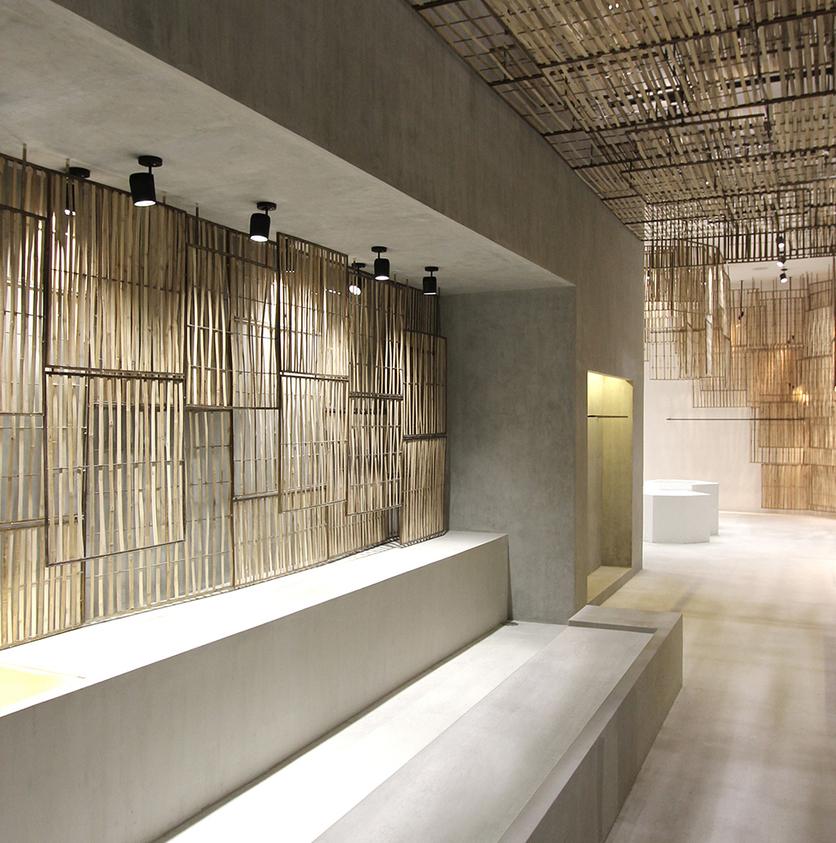 Bangkok store || Design: Cigue || Materials: terazzo, brass, concrete, bamboo and mirror