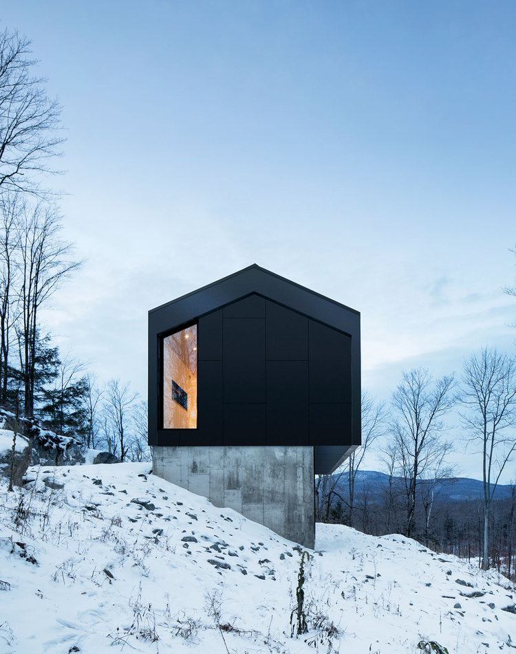 Bolton Residence Naturehumaine Design Gable Roofed Mountain Cabin In Quebec