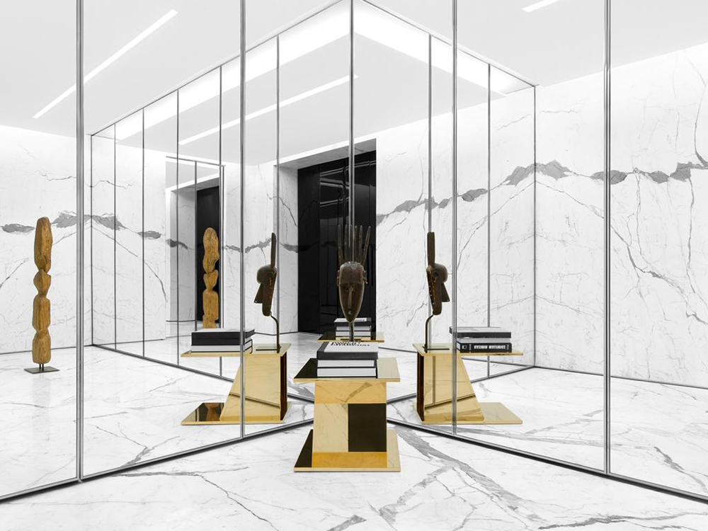 saint laurent reopens parisian store at faubourg saint honore knstrct. Black Bedroom Furniture Sets. Home Design Ideas