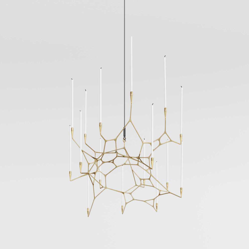 Matter Design crafts asymmetrical, 3D printed, brass casted Knotta Chandelier