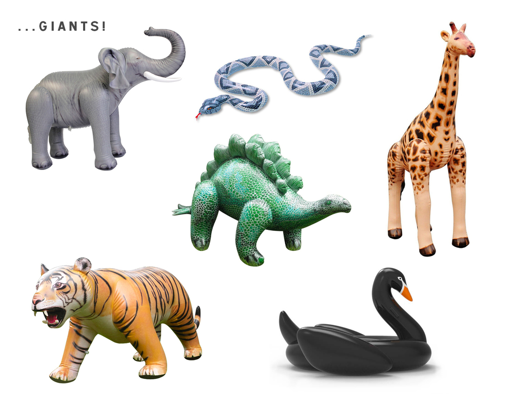 Giant Inflatable Animals: Snake ($12), Giraffe ($20), The Black Swan ($69), Elephant ($23), Tiger ($236)