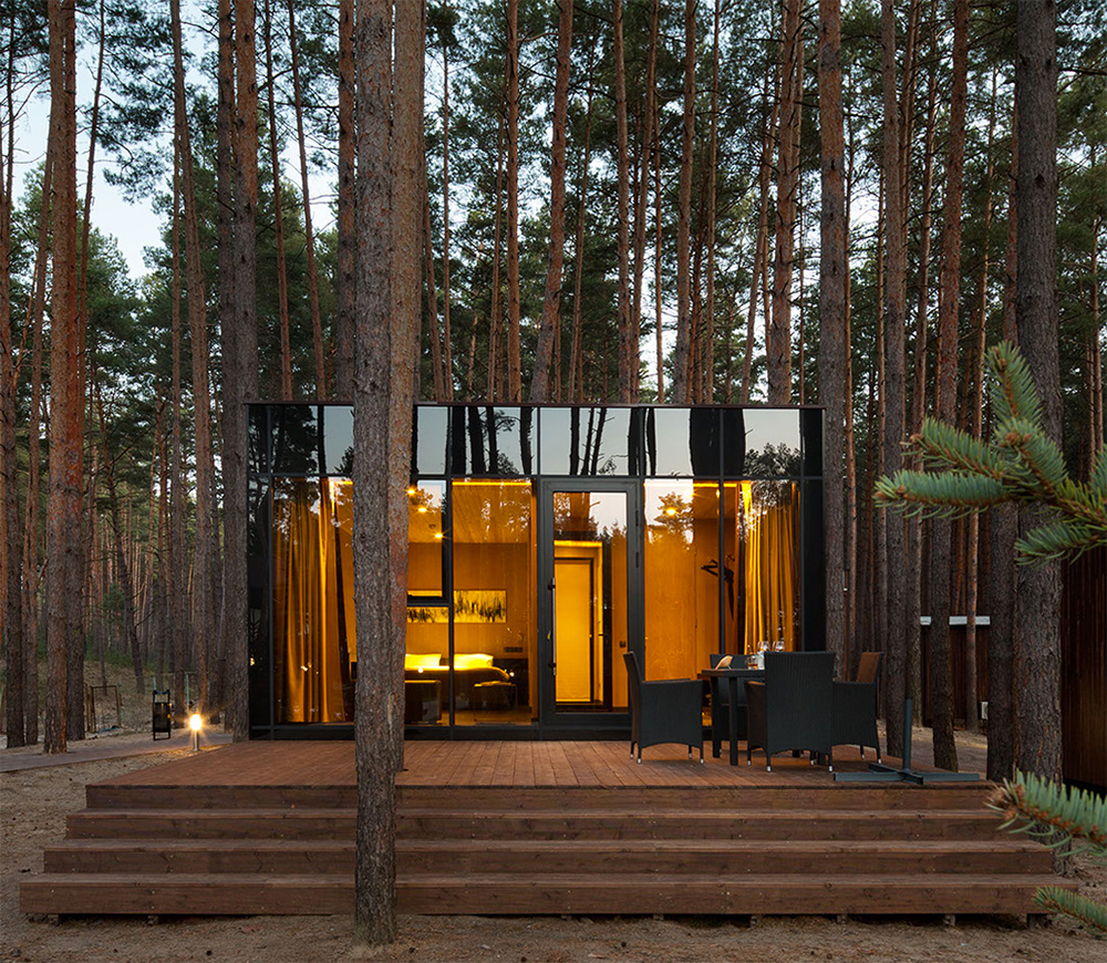 Into the woods studio yod lab s verholy guest houses for Building a small cabin in the woods