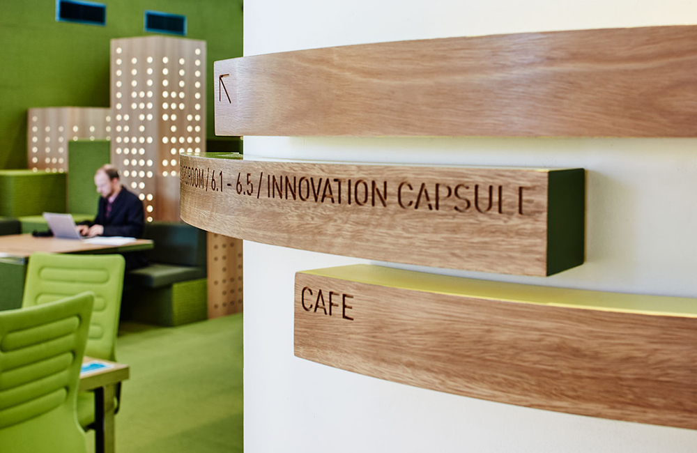 Interior space designed by  Russell & George  with wayfinding designed by  Fabio Ongarato Design