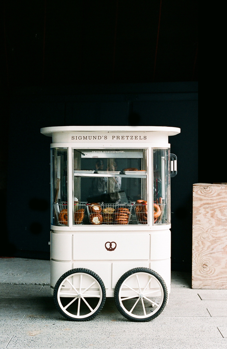 The pretzel makers over at  Sigmund's  sell their bread goods from this quaint little cart.