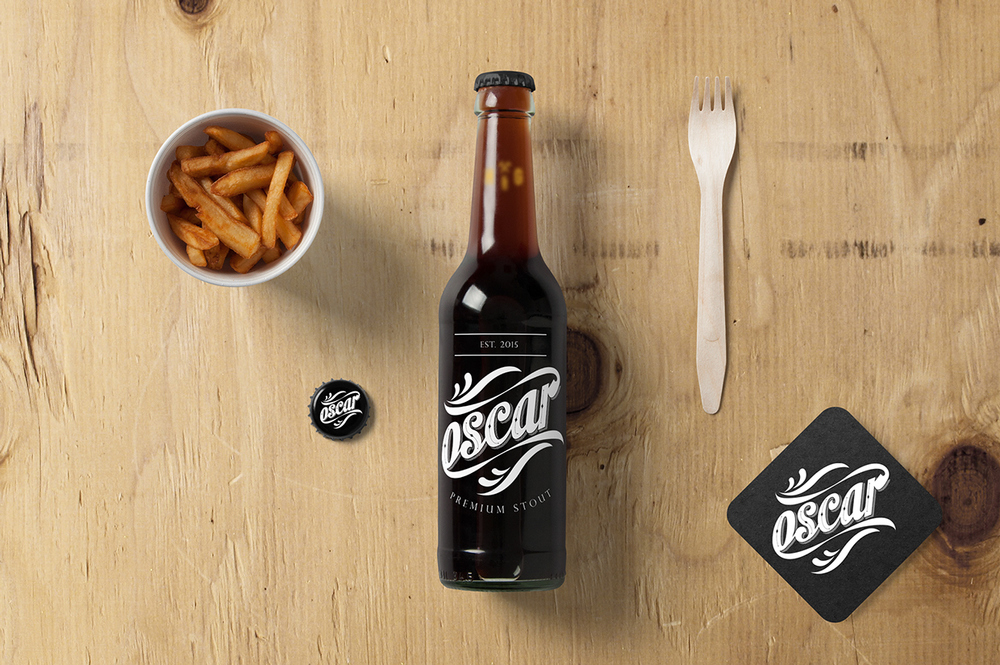 Designer  Teresa Gonçalves  takes inspiration from vintage signage for the branding of Oscar's Premium Stout.