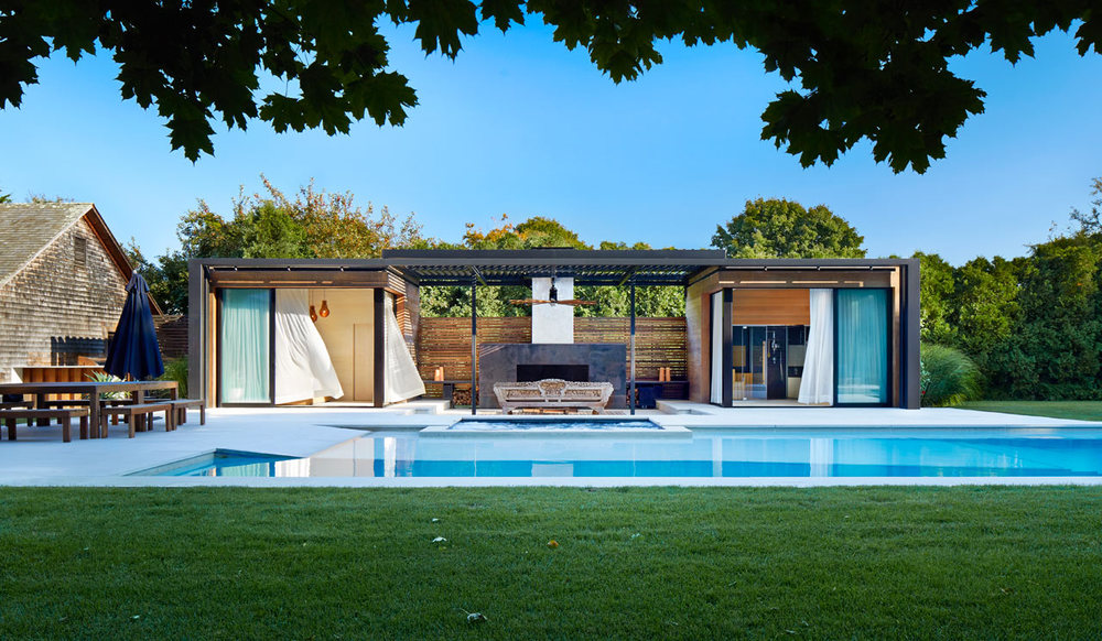 A modern pool house in Amagansett, NY designed by iCrave and photographed by John Muggenborg.