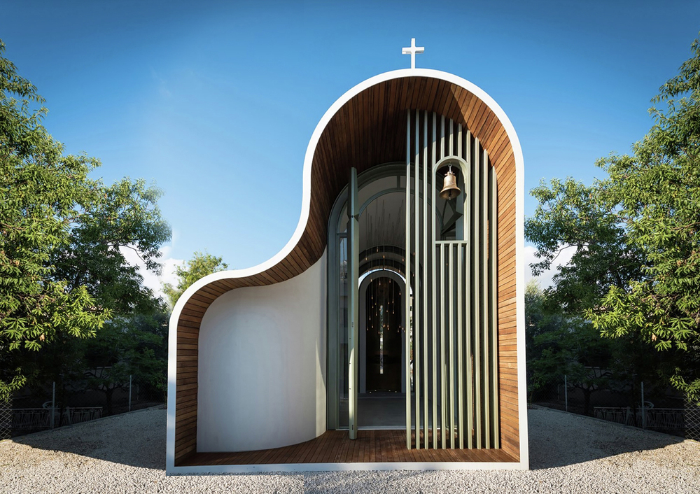 Architect Michail Georgiou Designs Sculptural Greek Orthodox chapel