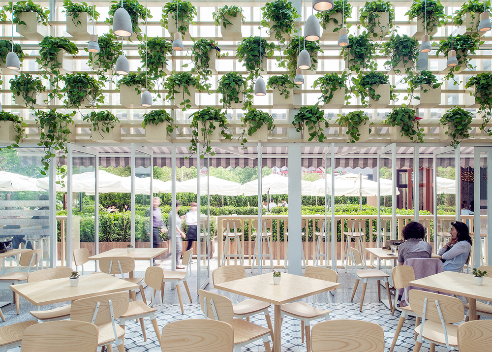 Four-O-Nine converts greenhouse into coffee shop in Beijing